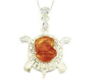 Large Amber Turtle Necklace